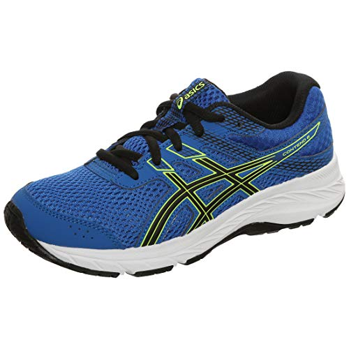 Asics Unisex-Child Contend 6 GS Running Shoe, Tuna Blue/Black, 36 EU