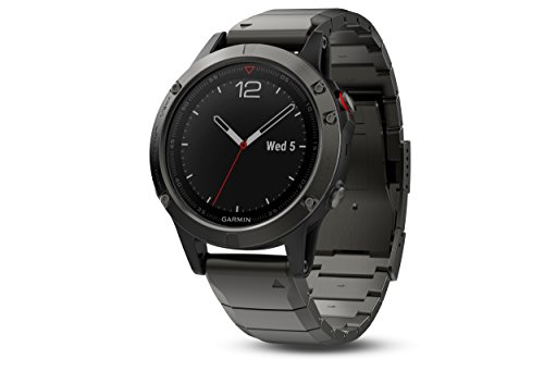Buy Discount Garmin fēnix 5, Premium and Rugged Multisport GPS Smartwatch, Sapphire Glass, Slate Gr...