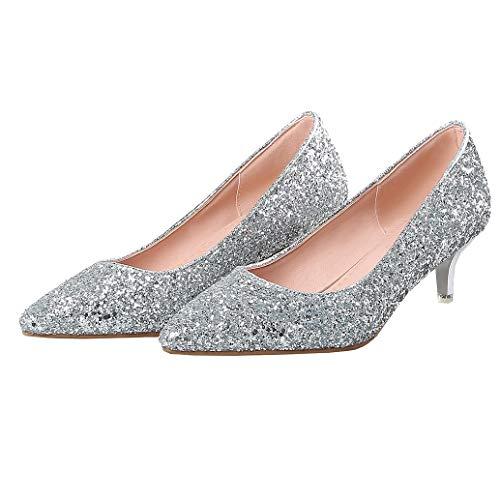 Kitten Heel Pumps mit Glitzer und 5cm Absatz Spitz Kleiner Absatz Hochzeit Schuhe (Silber,39)