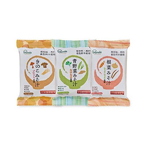 万田酵素 万田酵素配合 おみそ汁(青野菜みそ汁、きのこみそ汁、根菜みそ汁)9袋 3種×3食