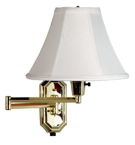 Kenroy Home 30130PB Nathaniel Wall Swing Arm Lamp, 15 Inch Height, 15 Inch Width, 24 Inch Extension, Polished Brass