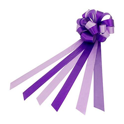 Oblique Unique® Geschenk Schleife Groß mit Geschenkband Glänzend für Geschenke Tüten Zuckertüten zum Basteln Dekorieren Verzieren - wählbar (Lila)