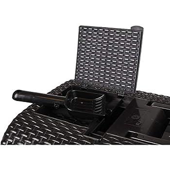 FLAMINGO 560673 Bac à litière en rotin pour Chat Noir 42 x 69 x 41 cm