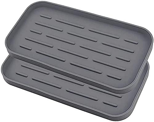 LIHAO Silicone Sink Organizer Sponge Holder Kitchen Sink Tray Storage Rack for Dish Sponge, Soap Dispenser, Scrubber - Grey