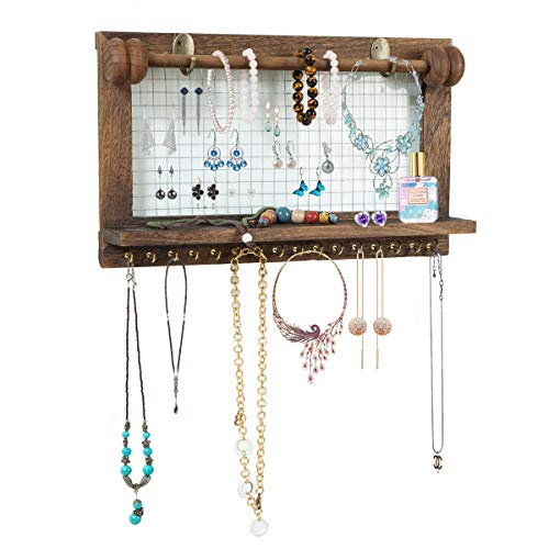ZOVOTA Wood Jewelry Organizer Earring Display Floating Shelves Wall Mounted Rustic Hanging Holder with 16 Hooks