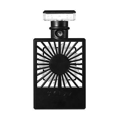 yunyu Ventilador de Mano para Dama, Mini Ventilador eléctrico humidificador, Ventilador portátil con espray de luz de Mano con Carga USB Conveniente (Color: Negro)