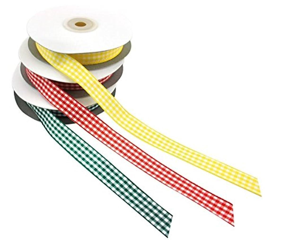 Playbox 25m x 15mm Checkered Ribbon (Yellow)