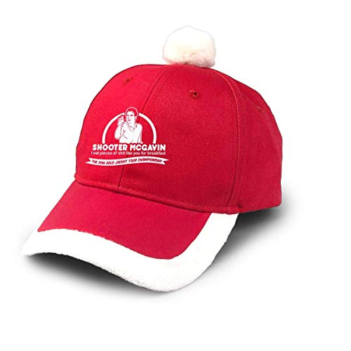 GGdjst Weihnachtsmützen, Happy Gilmore Shooter McGavin Breakfast Quote Christmas Hats Red Santa Baseball Cap for Kids Adult Families Celebrate New Year Party