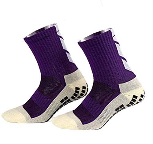 rutschfeste Fußball Socken Stutzenstrümpfe Kompression Basketballsocken/Yoga Socken Noppen Sohle Damen und Herren Socken Anti Rutsch Socken Stoppersocken Noppensocken knielänge (Purple, OneSize)