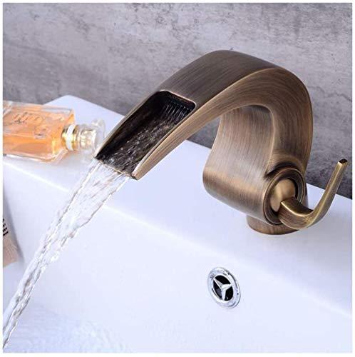 Grifo mezclador de agua para agua fría, caliente y fría, para pared, con un solo mango, de bronce envejecido