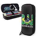 BJJ Jiu Jitsu - Estuche de piel para lápices con cremallera y soporte para bolígrafos de Nanoprint de piel para estudiantes, niño y niña, hogar, trabajo, oficina