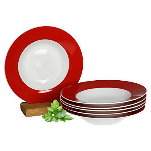 Van Well 6er Set Suppenteller Serie Vario Porzellan - Farbe wählbar, Farbe:rot