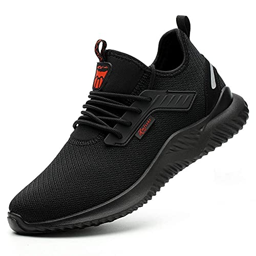 HMFSXKR Sicherheitsschuhe Herren Damen Arbeitsschuhe, Schutzschuhe mit Stahlkappen Leicht Atmungsaktiv Schuhe (Schwarz, Numeric_42)