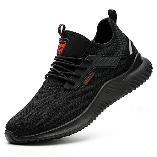 HMFSXKR Sicherheitsschuhe Herren Damen Arbeitsschuhe, Schutzschuhe mit Stahlkappen Leicht Atmungsaktiv Schuhe (Schwarz, Numeric_44)