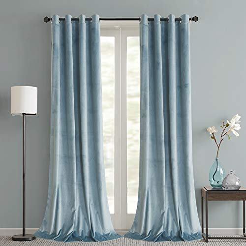 Roslynwood Decorative Velvet Noise Reducing Blackout Curtains Grommet Top Soft Thermal Insulated Home Office Drapes for Bedroom 52W x 63L Inch, Stone Blue, Set of 2 Panels