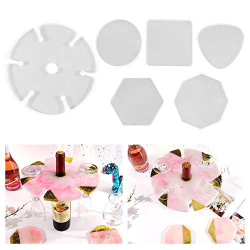 Auveach 6 Pz Stampi Sottobicchieri in Resina Silicone Forma Esagonale Universale Facile da Usare Regalo Artigianato Artistico