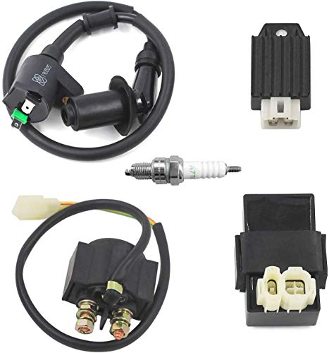 Trkimal GY6 CDI Ignition Coil Solenoid Relay AC 12V 4-Pin Voltage Regulator Rectifier Spark Plug for 50cc 80cc 100cc 125cc 150cc Scooter Moped ATV Go karts.