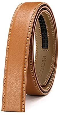 """CHAOREN Ratchet Belt Strap Only 1 1/8"""", Replacement Leather Belt 1.25"""" without Buckle (Light Brown, 28"""" to 42"""" Waist Adjustable)"""