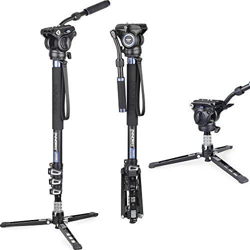 Kit de monopié de vídeo profesional - INNOREL VM70K incluye cabezal de fluido de aluminio CNC, base de trípode extraíble y soporte...