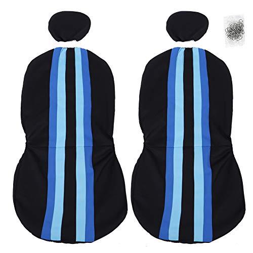 Auto stoelbekleding voorstoel, universele stoelbekleding mesh doek voorste stoelhoezen strepen bonte ademende voorzijde protector zwart blauw afneembaar met gordelbeschermers voor auto SUV en vrachtwagen T24918