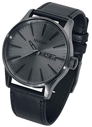 Nixon Armbanduhr Sentry Leder Gunmetal / Black