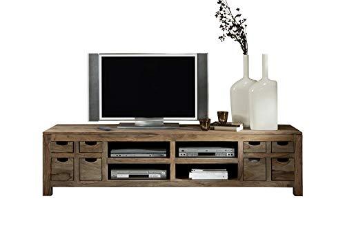 MASSIVMOEBEL24.DE TV-Board Nature Grey aus Massivholz Sheesham geölt, Lowboard mit Fächern und 8 Schubladen, Fernsehschrank