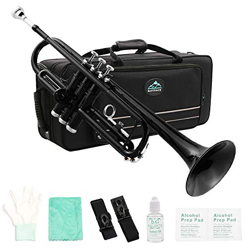Eastrock Trumpet B Standard Bb Trumpet Set for Student Beginner with Hard Case, Gloves, Trumpet 7C Mouthpiece, and White Mineral Oil (Black)