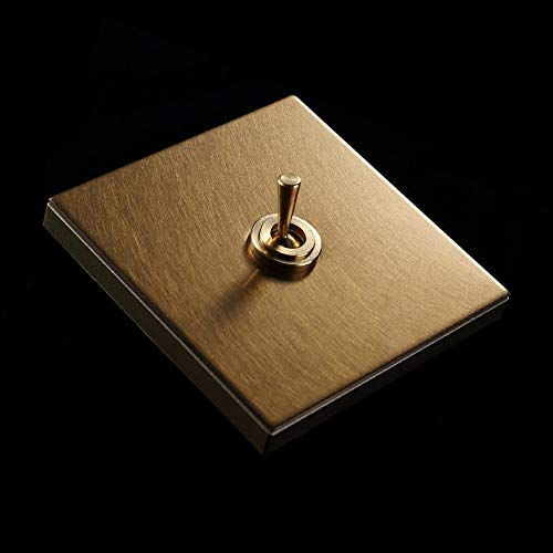 Ploutne Retro Messing Lever Wand Switch Panel Hotel Loft Stil Edelstahl Lichtschalter Champagner Gold 86 Verdeckte Metall Switch Panel Kippschalter (Color : 1 Gang)