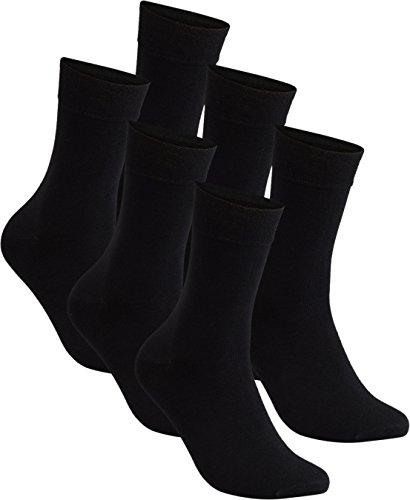 gigando   Anzugsocken aus Bambus für Damen und Herren   Socken mit Komfortrand ohne Gummi   atmungsaktiv dank Viskose Bambus   Ferse & Spitze verstärkt   6 Paar   schwarz   39-42  