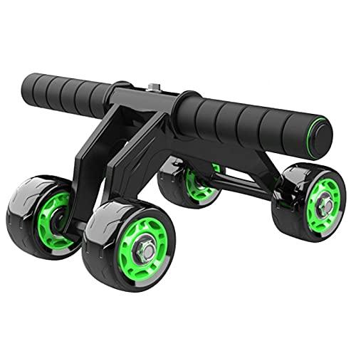 Rodillo de ejercicio abdominal, 4 ruedas, rodillo de entrenamiento abdominal, ruedas de ejercicio, equipo de ejercicio de abdominales con rodillera para gimnasio en casa /99 (color verde)