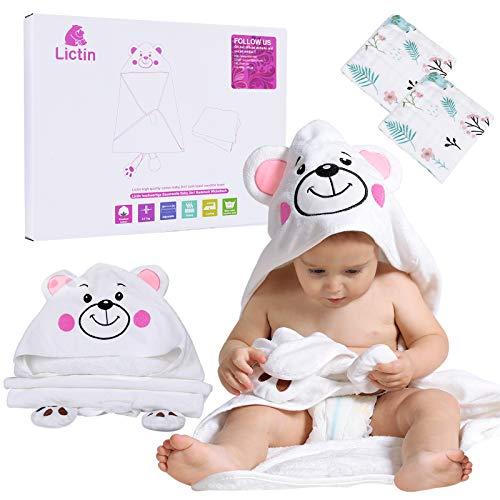 Lictin Waschlappen Baby Kapuzenhandtuch Baby - 3 Stück Waschlappen Baby Weich mit 2 Baby Handtücher Eisbär Design Badetuch Groß für Kinder von 12-36 Monaten