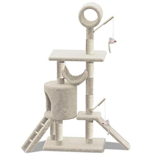 VOUNOT Árbol Rascadores para Gatos Grande con Plataformas y Refugios, XXL 154cm, Beige