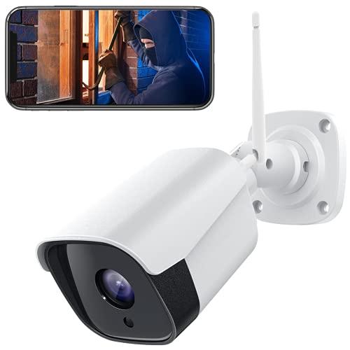 PC730 FHD 1080P Caja Metálica Cámara IP de Vigilancia WiFi Exterior con Detección de Sonido y Movimiento con Visión Nocturna Impermeable IP66 Audio de 2 Vías Funciona con Alexa