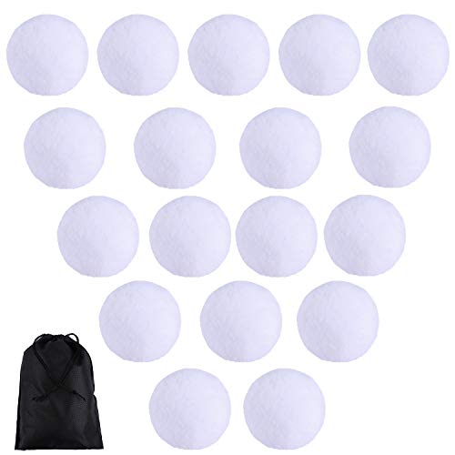 URATOT 40 Pieces Fake Snowball Indoor Snowball Fight Soft and Realistic with a Bag for Indoor Outdoor Winter Games