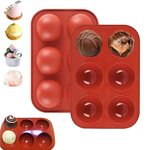 Silicone Molds, Medium 6 Holes Semi Sphere Chocolate Molds, BPA Free Silicone DIY Baking Mold for Making Hot Chocolate Bombs, Cake, Jelly, Dessert, Dome Mousse, Candy, Pudding, Handmade Soap 2PCS
