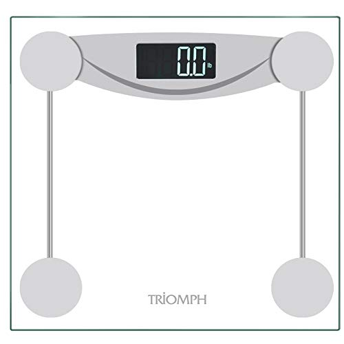 Triomph Smart Digital Body Weight Bathroom Scale with Step-On Technology, LCD Backlit Display, 400 lbs Capacity and Accurate Weight Measurements, Silver (Digital Scale New)