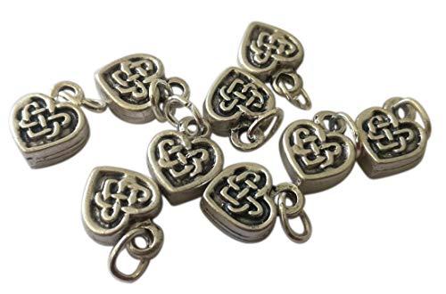 Keltisch hart verzilverde bedels. 10 hangers voor doe-het-zelf creaties: decoraties, accessoires, kostuum sieraden, armbanden, gunsten, kleding, tassen. Medaille H 0,47 in