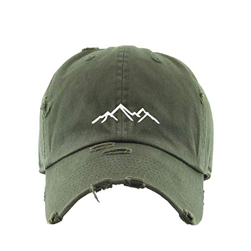 Mountain Vintage Baseball Cap Embroidered Cotton Adjustable Distressed Dad Hat Olive