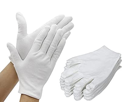 Amariver 12 Pairs White Cotton Gloves, 8.3'' Large Size Thicker and Resuable Soft Works Glove for Coin Jewelry Silver Inspection