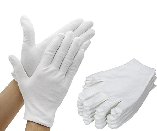 Amariver 12 Pairs White Cotton Gloves, 8.6 Large Size Thicker and Resuable Soft Works Glove for Coin Jewelry Silver Inspection