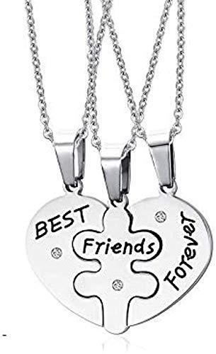YZXYZH Collar Mejor Amigo para Siempre Corazón Rompecabezas Acero Inoxidable Amistad Colgante Collar Joyería Regalo para Mujeres Hombres Longitud 50 Cm Collar