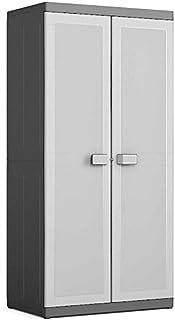 Kis 9694000 0270 01 Armoire Haute Logico XL Noir-Gris Clair, Plastique, 89 x 54 x 182 cm