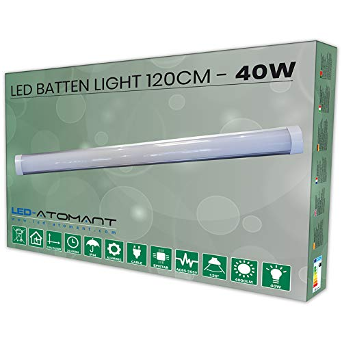 Led Atomant Luminaria Pantalla 120 cm, 40w, Color Blanco Neutro (4500K). Tubo Integrado T8. 3300 Lumenes. Lampara de Techo. A++