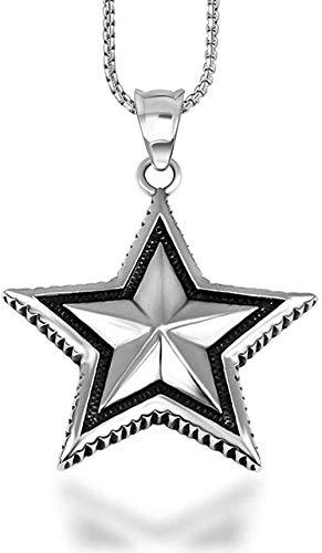 NC110 Collar con Colgante de Acero de Titanio Retro para Hombres y Mujeres Colgante de Estrella de Estilo Coreano de Moda YUAHJIGE