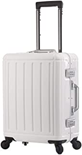 "AELLYY 100% Aluminum-magnesium Alloy Material Spinner Business Trolley Luggage Brand Suitcase High Grade (Color : Ivory, Luggage Size : 20"")"
