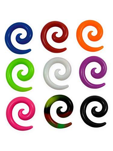 Fly Style Dehnschnecke aus Silikon Flesh Tunnel Spirale | Ohr-Expander | Größen von 4-12 mm, Grösse:6 mm, Farbwahl:Mehrfarbig