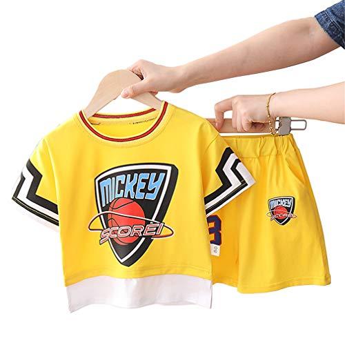 Kinder Basketball Trikots Sets # 23 Mickey Scorei, Junge Mädchen Atmungsaktive Weste Sport Kurze Sets Atmungsaktive Ball Wear Gelb-Yellow-L