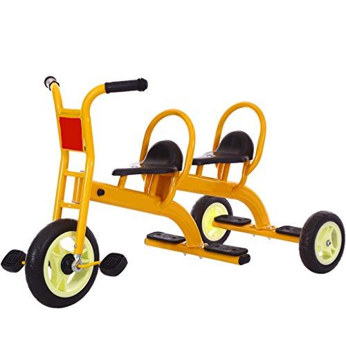 Triciclo De Niños Doble, Bicicleta 3 Ruedas De Bici 2-8 Años De Edad Cruise Bebé Trikes con Dos Plazas De Diseño Ergonómico Y Una Silla For La Educación Preescolar Niño Cochecito Al Aire Libre