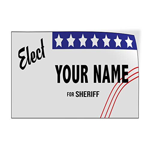 Custom Door Decals Vinyl Stickers Multiple Sizes Elect Name for Position Ballot Political Elect Signs Outdoor Luggage /& Bumper Stickers for Cars Black 30X20Inches Set of 10