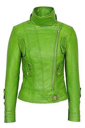 Smart Range Supermodel Damen Grün Biker Stil Designer Echt Nappa italienischen Lederjacke (12, Green)
